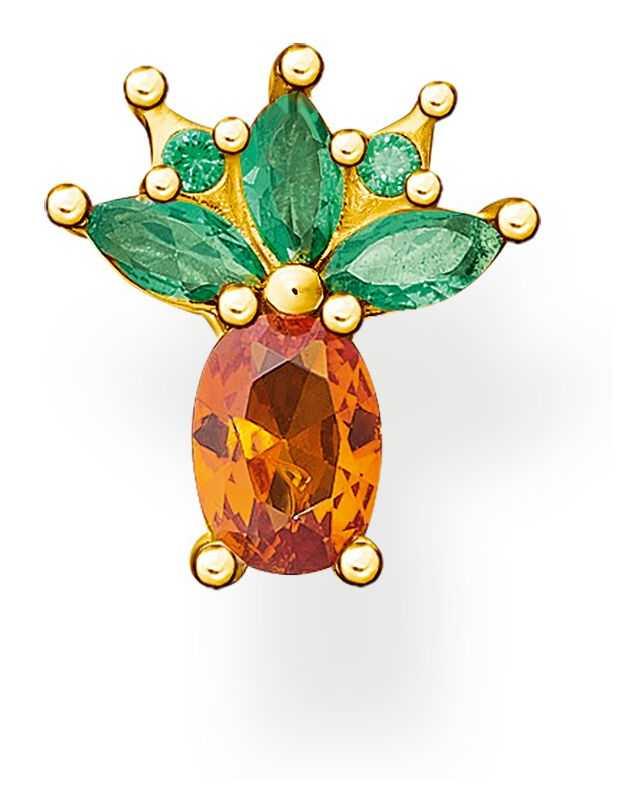 Thomas Sabo Gold Plated Pineapple Single Ear Stud H2191-472-7