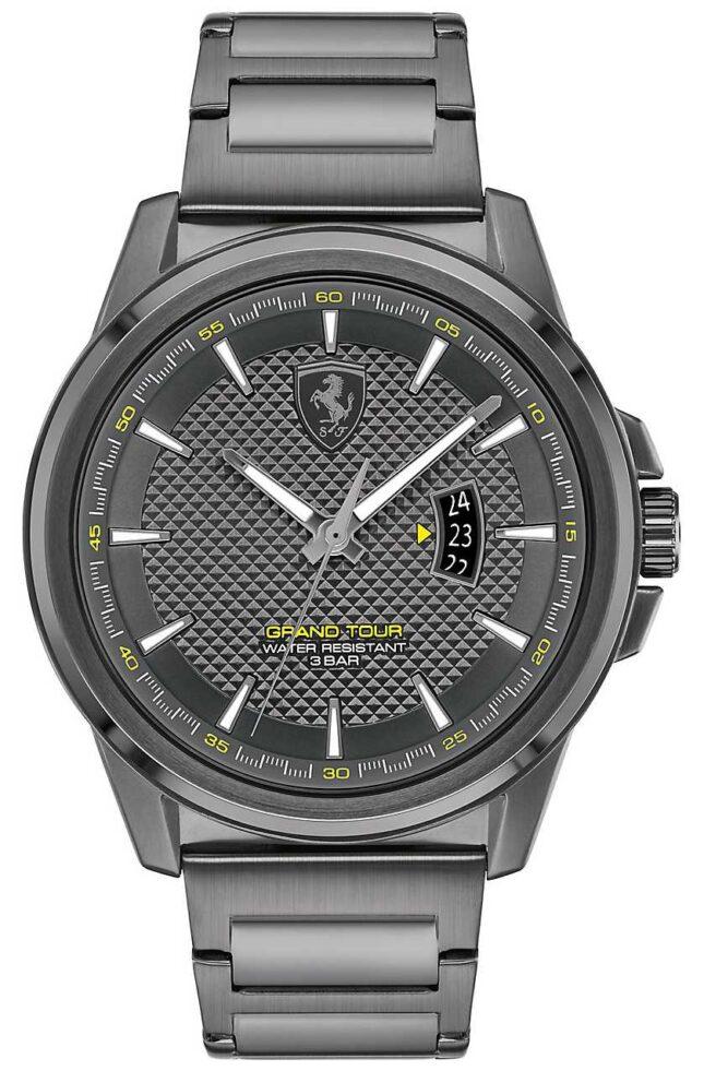 Scuderia Ferrari Men's Grand Tour | Grey IP Steel Bracelet | Grey Dial 0830836