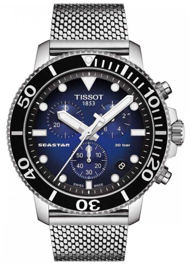 Tissot Seastar 1000   Chronograph   Blue Dial   Stainless Mesh T1204171104102