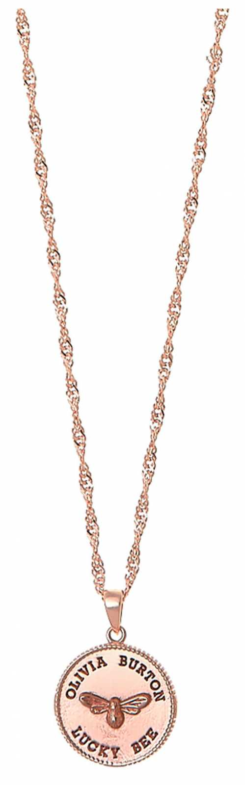 Olivia Burton Lucky Bee Coin Rose Gold Pendant Necklace OBJAMN139