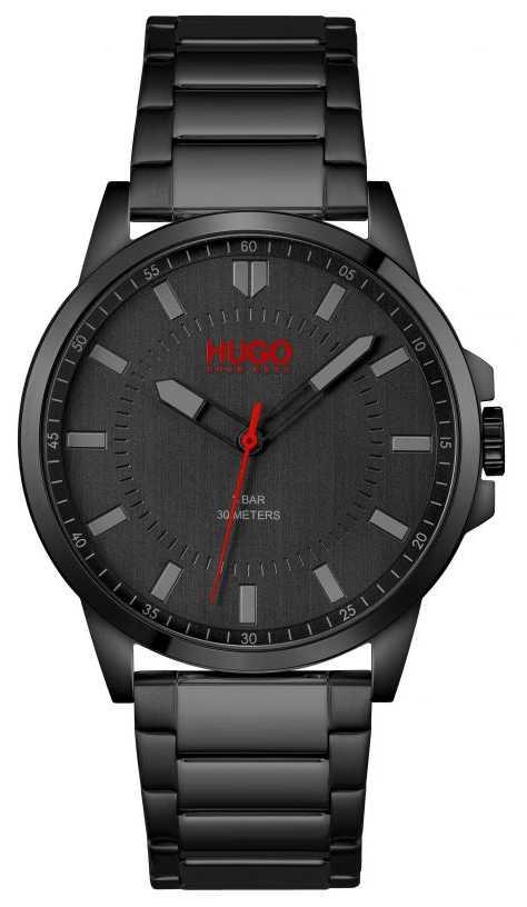 HUGO #First   Men's Black Ionic Plated Bracelet   Black Dial 1530187
