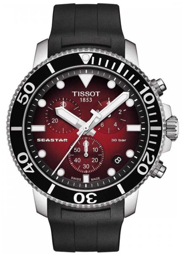 Tissot Seastar 1000   Chronograph   Red Dial   Black Silicone Strap T1204171742100