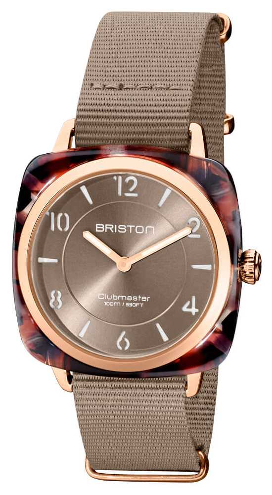 Briston Clubman Chic | Rose Gold 36mm Taupe Dial | Taupe Nato Strap 21536.PRA.UBR.30.NT