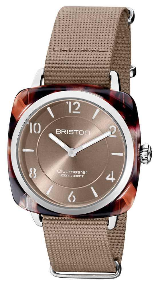 Briston Clubman Chic | Silver 36mm Taupe Dial | Taupe Nato Strap 21536.SA.UBR.30.NT