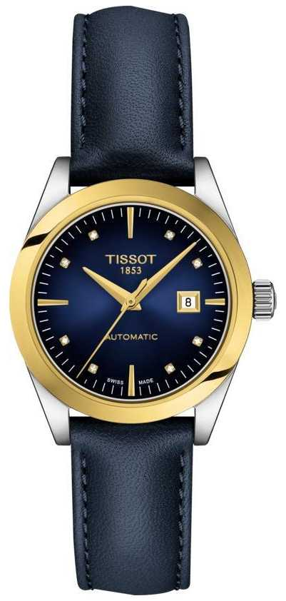 Tissot T-My Lady | 18k Gold | Auto | Blue Dial | Blue Leather Strap T9300074604600