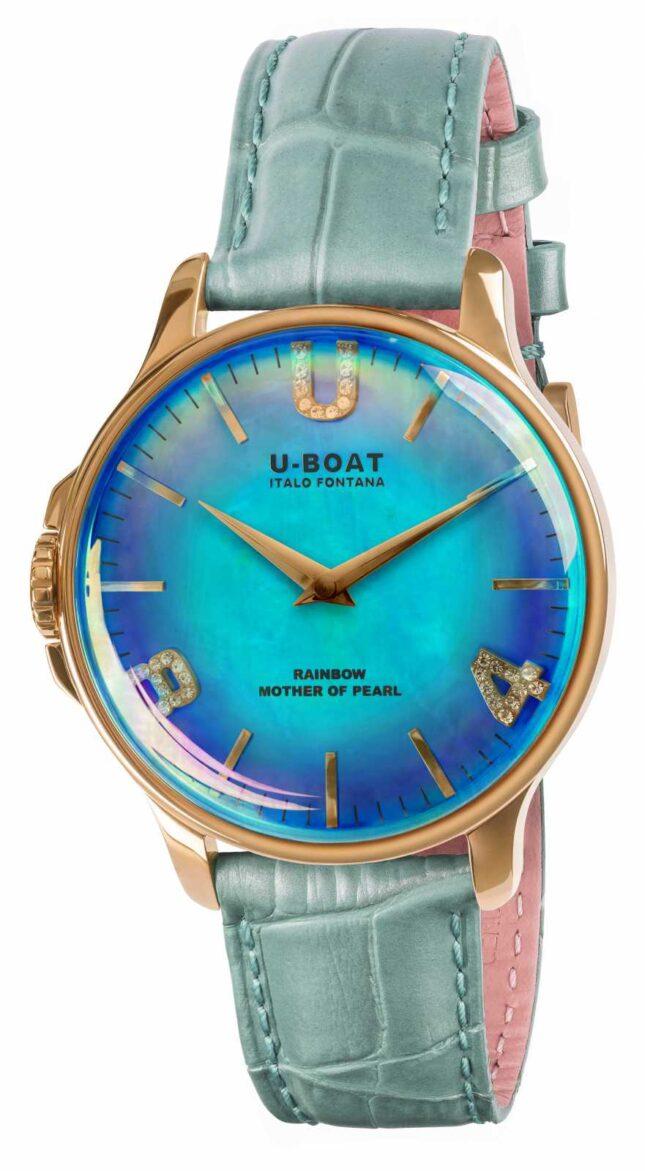 U-Boat RAINBOW 38MM BLUE IP GOLD BLUE LEATHER STRAP 8475