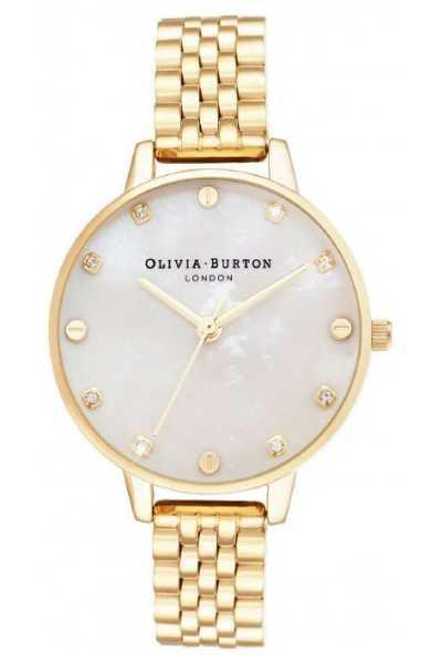 Olivia Burton Big Dial White MOP Gold Bracelet Thin Case OB16SE13