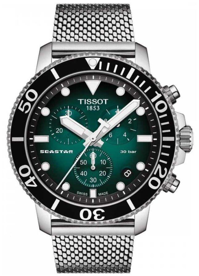 Tissot Seastar 1000   Chronograph   Green Dial   Stainless Mesh T1204171109100