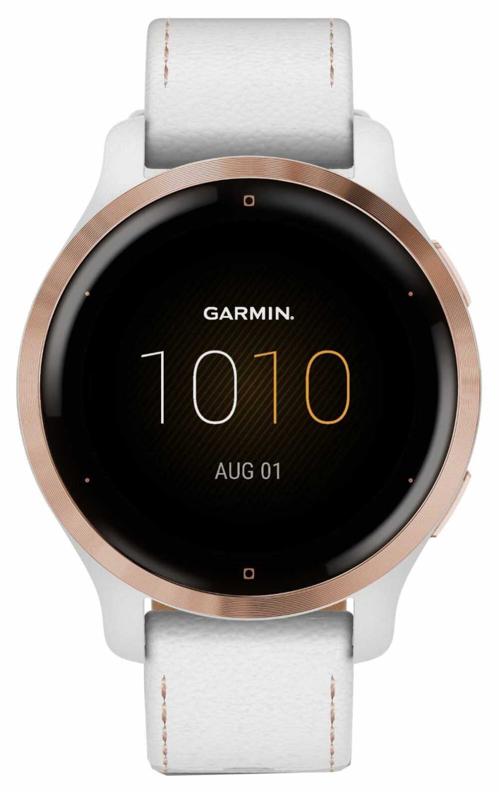 Garmin Venu 2S | 41 mm Rose Gold Stainless Steel Bezel | White Case and Leather Strap 010-02429-23