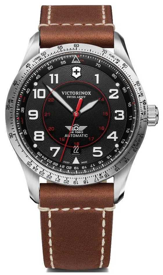 Victorinox Swiss Army | Airboss Mechanical | Men's | Brown Leather Strap | Black Dial 241973