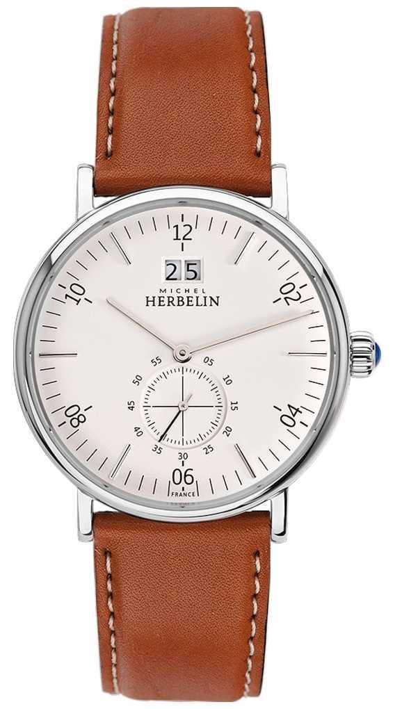 Michel Herbelin Inspiration   Cream Dial   Brown Leather Strap 18247/11GO