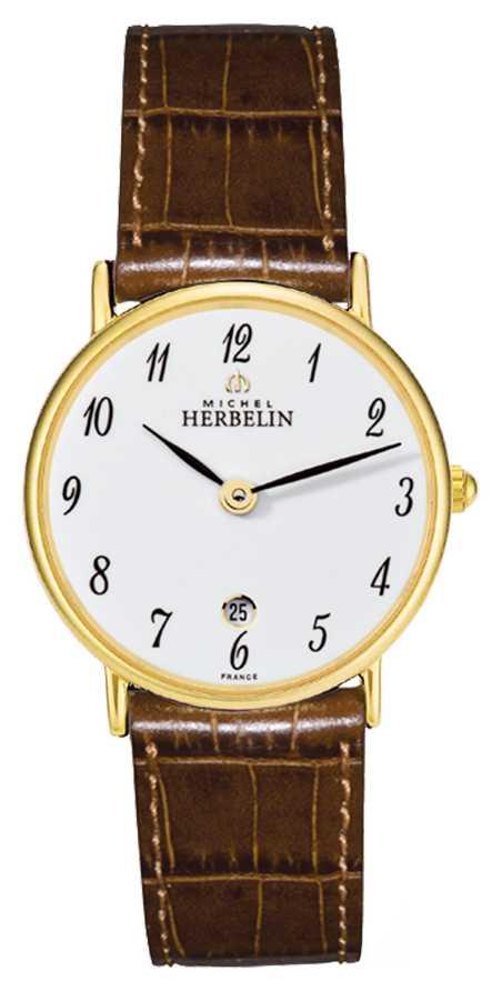 Michel Herbelin Sonates   26mm   White Dial   Brown Leather Strap 16845/P28GO