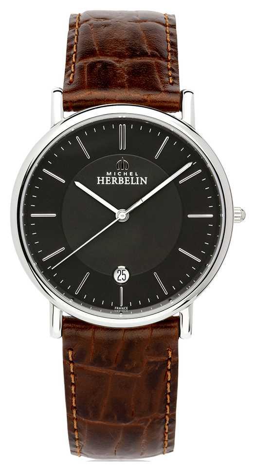 Michel Herbelin Mens Classique | Brown Leather Strap | Black Dial 12248/14MA