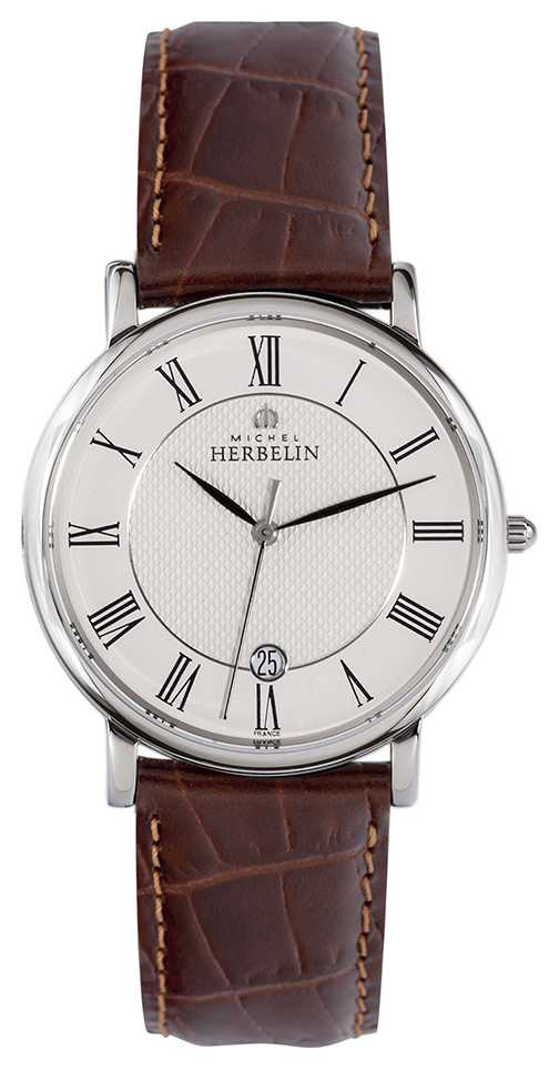 Michel Herbelin Sonates | 38mm | White Dial | Brown Leather Strap 12248/08MA