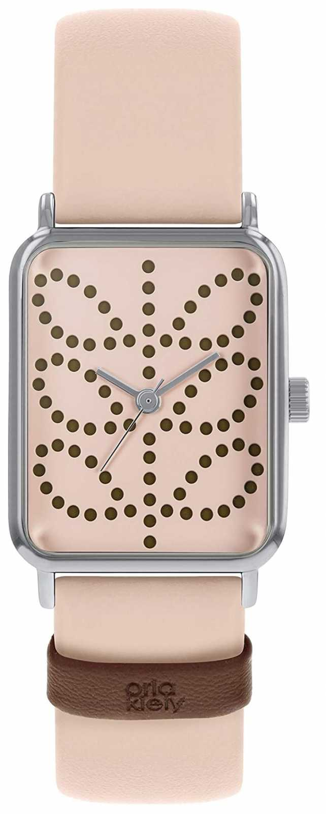 Orla Kiely Women's Pink Leather Strap | Pink Rectangle Dial OK2303