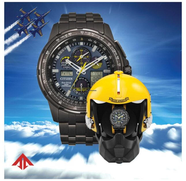 Citizen Men's Eco-Drive Radio Controlled | Promaster Skyhawk | Blue Angels | Helmet Presentation Box JY8097-58L