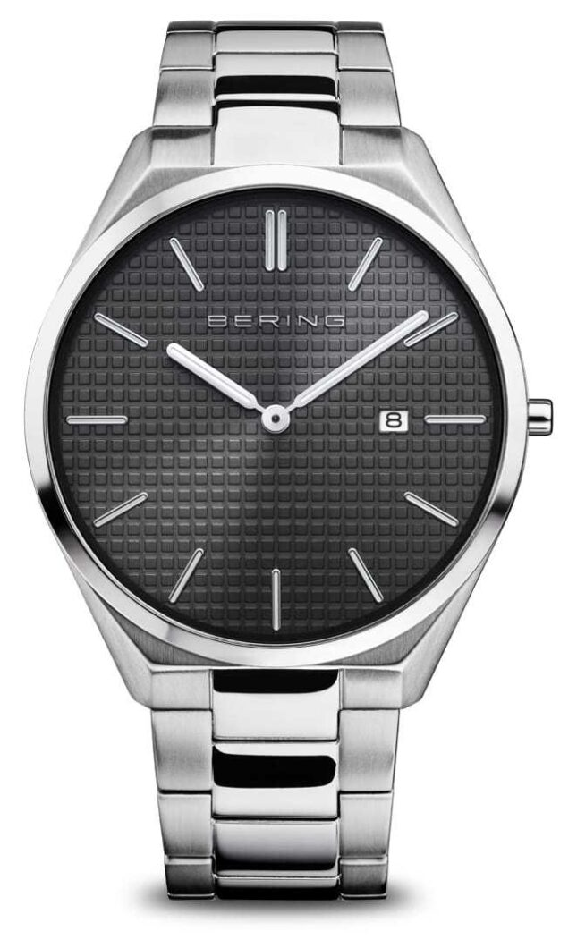 Bering Ultra Slim | Men's | Polished/Brushed Silver | Black Dial 17240-702