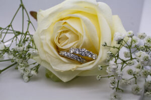 wedding and engagement ring stack