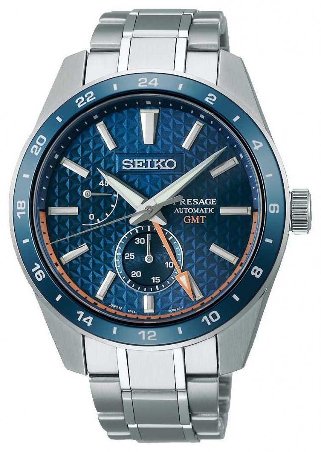 Seiko Presage Sharp Edged GMT Blue Dial SPB217J1