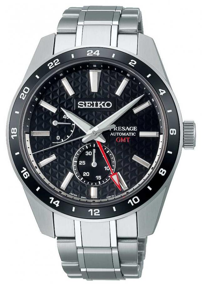 Seiko Presage Sharp Edged GMT Black Dial SPB221J1