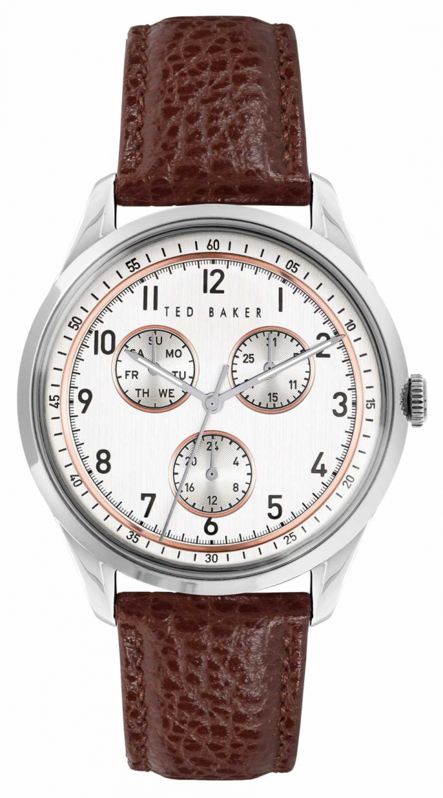 Ted Baker DAQUIR MULTI | White Dial | Brown leather Strap BKPDQS104