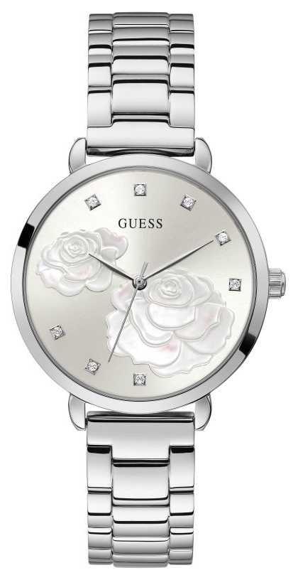 Guess Sparkling Rose | Women's Stainless Steel Silver Bracelet | Silver Dial GW0242L1