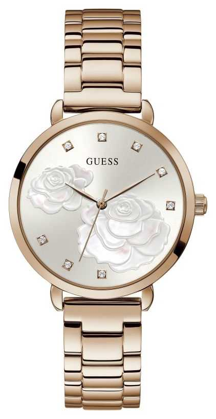 Guess Sparkling Rose | Women's Rose Gold Plated Steel Bracelet | Silver Dial GW0242L3