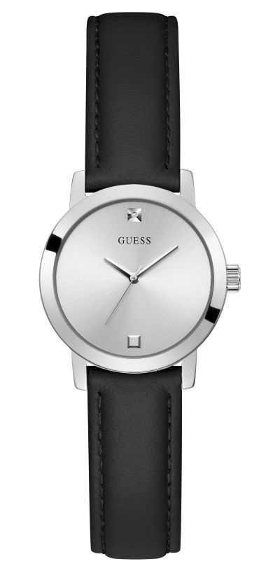 Guess Mini Nova | Women's Black Leather Strap | Silver Dial GW0246L2