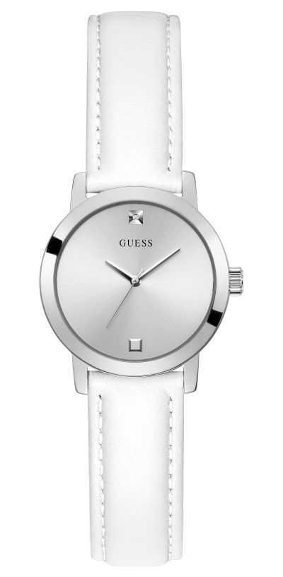 Guess Mini Nova | Women's White Leather Strap | Silver Dial GW0246L1