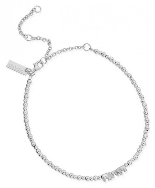 ChloBo Mini Cute Lucky Elephants Anklet | Sterling Silver SANMC4038