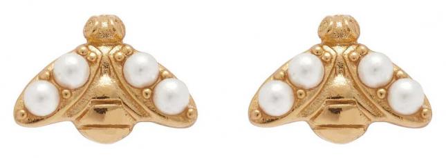 Olivia Burton Pearl Bee Gold Stud Earrings OBJAME270