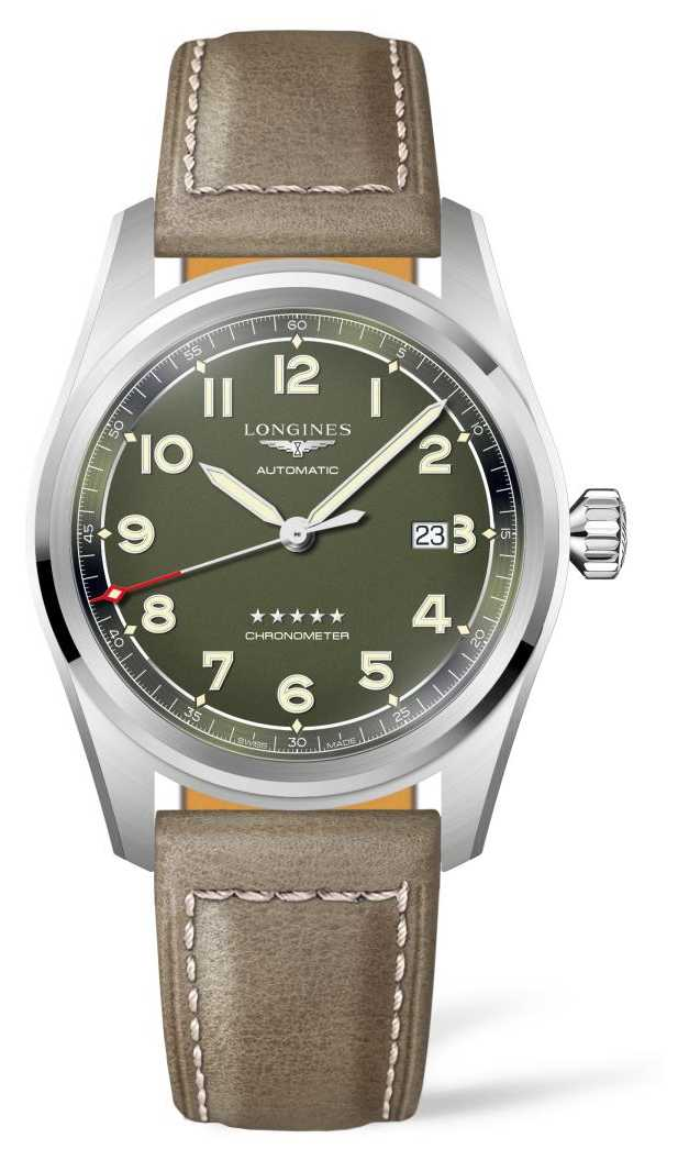 Longines Spirit Green Dial Leather Strap L38114032