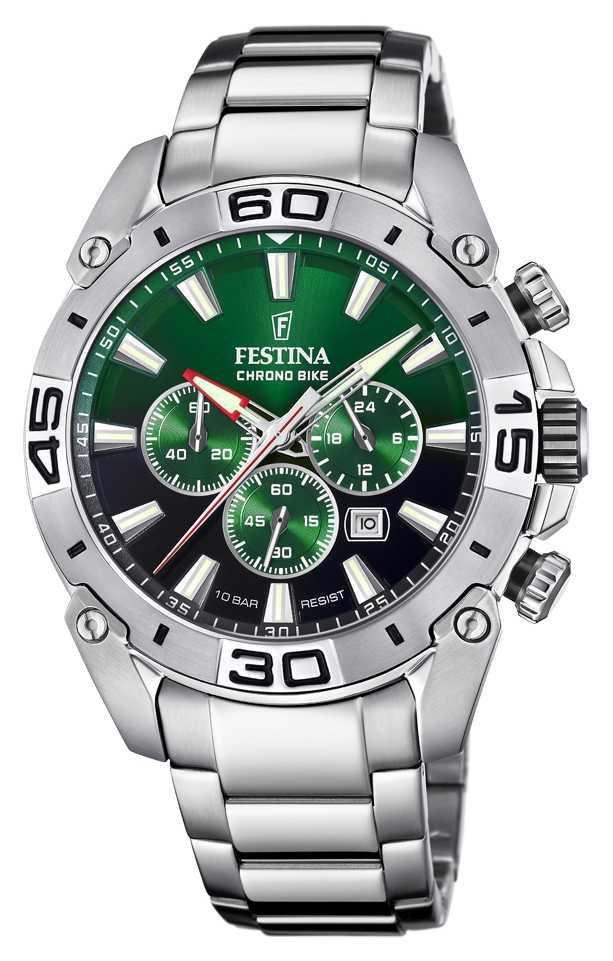 Festina Chronobike 2021   Green Dial   Stainless Steel Bracelet F20543/3
