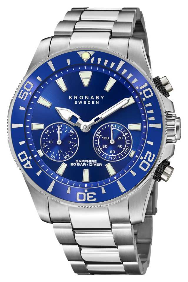 Kronaby Diver Collection   Bluetooth   Blue Dial   Stainless Steel S3778/1