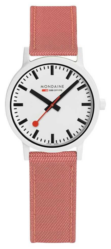 Mondaine Essence 32mm   Pink Suede Strap   White Dial MS1.32111.LP