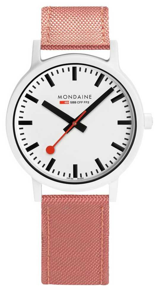 Mondaine Essence 41mm   Pink Suede Strap   White Dial MS1.41111.LP