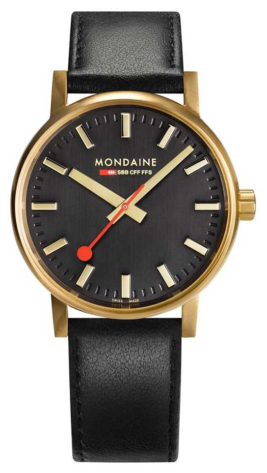 Mondaine Evo2 Gold 40mm   Black Leather Strap   Black Dial   IP Gold Case MSE.40122.LB