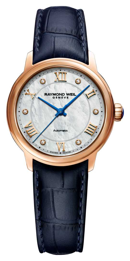 Raymond Weil Women's Maestro | Blue Leather Strap | Mother Of Pearl Dial 2131-P53-00966