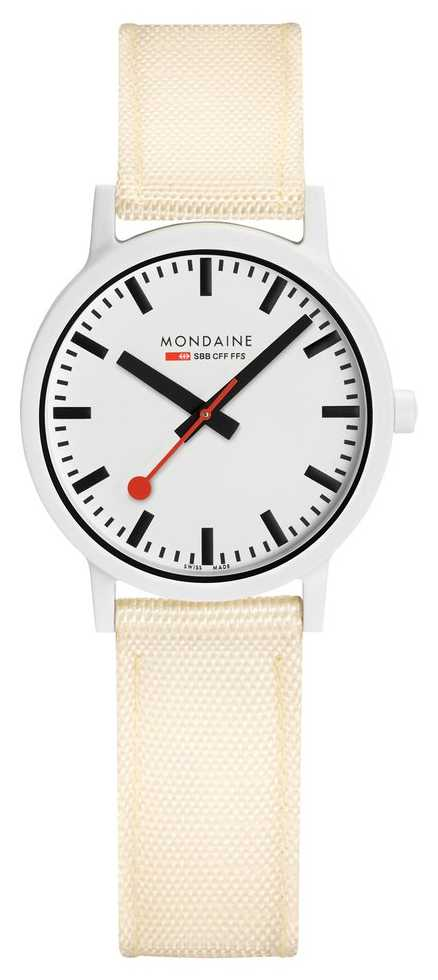 Mondaine Essence 32mm   Off White Strap   White Dial MS1.32111.LT