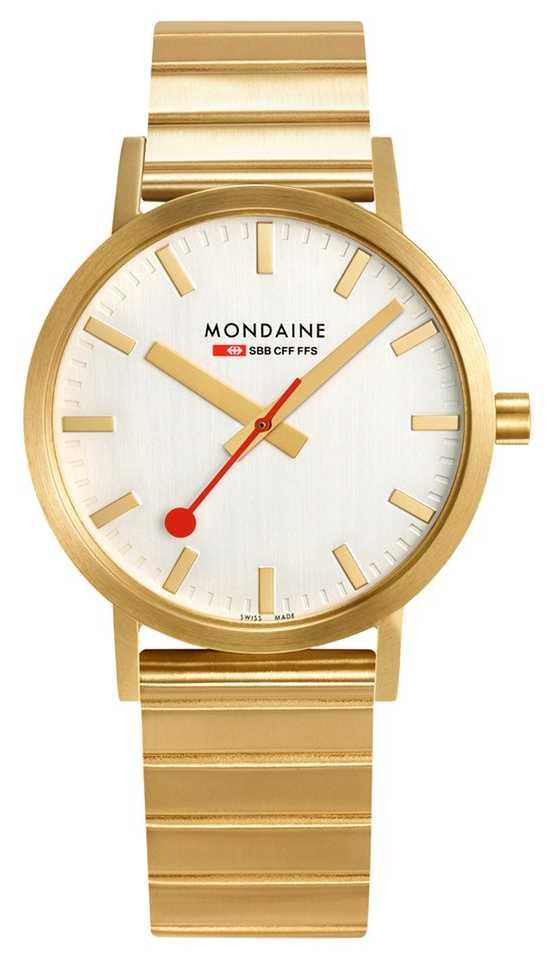 Mondaine Classic Metal 40mm   IP Plated Gold Bracelet   Silver Dial A660.30360.16SBM