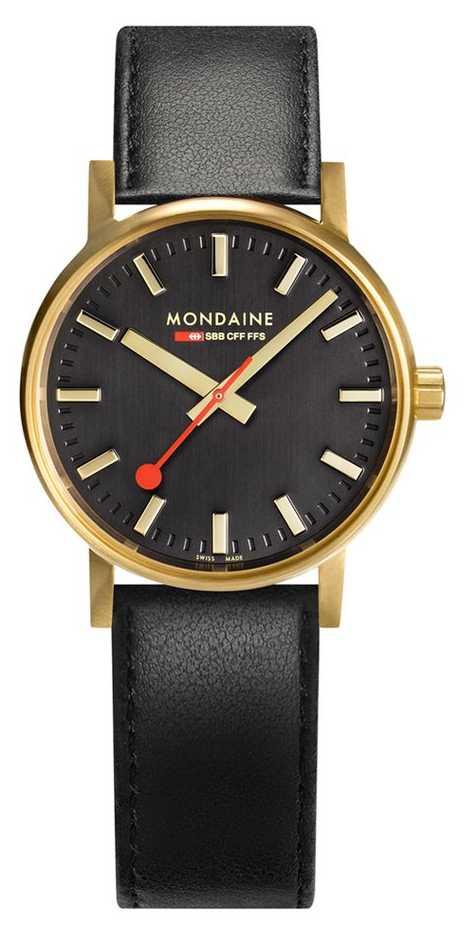 Mondaine Evo2 Gold 30mm   Black Leather Strap   Black Dial   IP Gold Case MSE.30120.LB