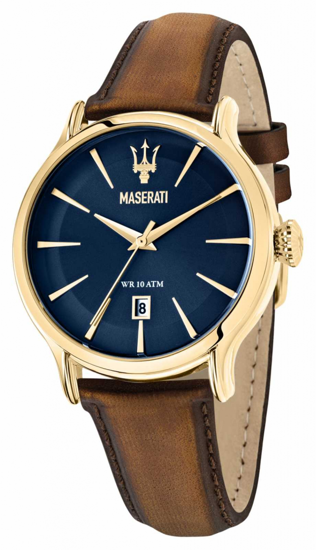 Maserati EPOCA Gents Brown Leather Strap R8851118012