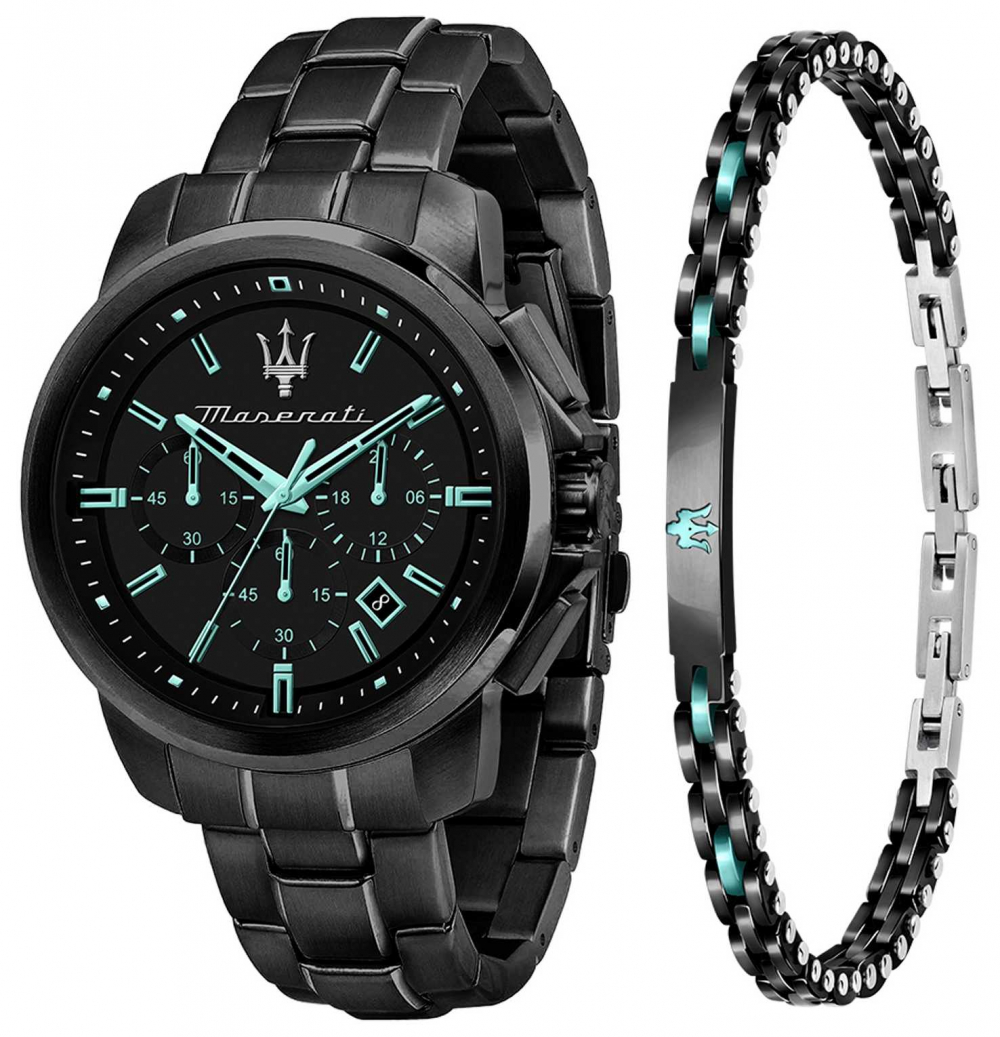 Maserati Aqua Edition Gents Gift Set Watch and Bracelet R8873644004