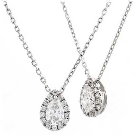 18ct White Gold 0.20ct Pear Diamond Cluster Pendant BJP0138