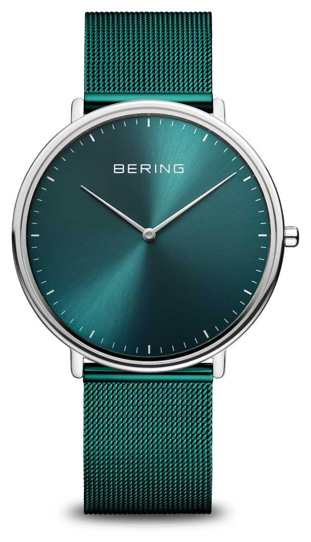 Bering Classic Green Milanese Mesh Bracelet Watch 15739-808