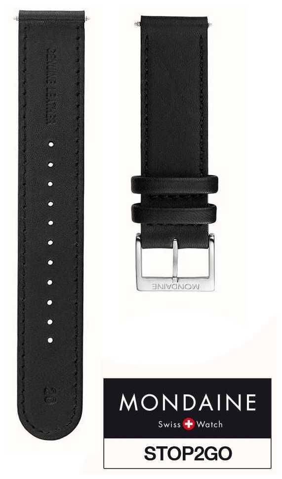 Mondaine Watch Strap Black Leather STOP2GO FE2532020Q2