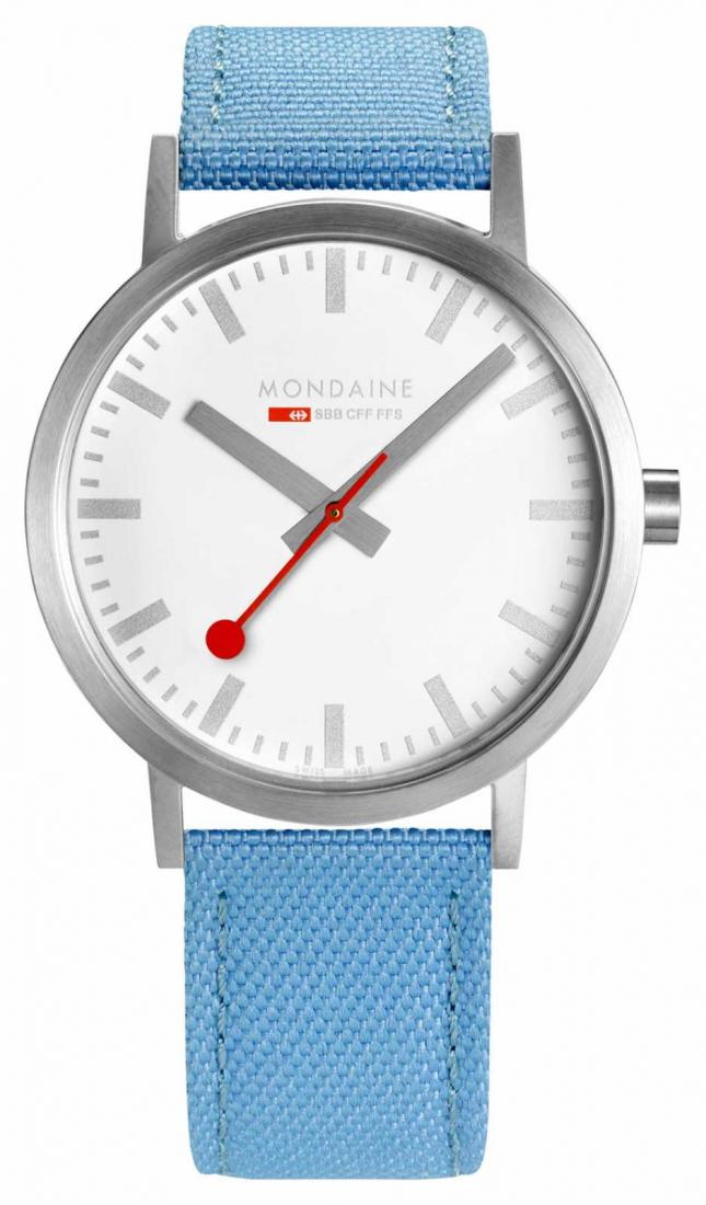 Mondaine Classic Large Silver Case 40mm Blue Strap A660.30360.17SBQ