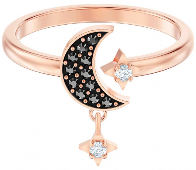 Swarovski Symbolic Moon | Ring | Rose-Gold Tone Plated | Black | UK N 5429735