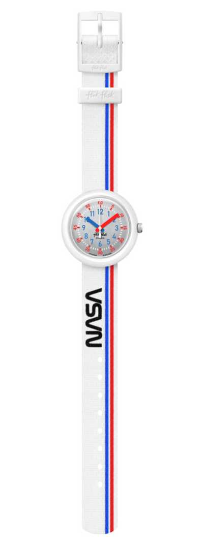 Flik Flak 3-2-1 LIFTOFF ! | White Recycled PET Strap | Silver Dial FPNP094