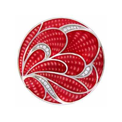 "MY iMenso MY iMenso ""Red Crocus"" enamel cz 24mm insignia (925/rhod-plated) 24-1504"